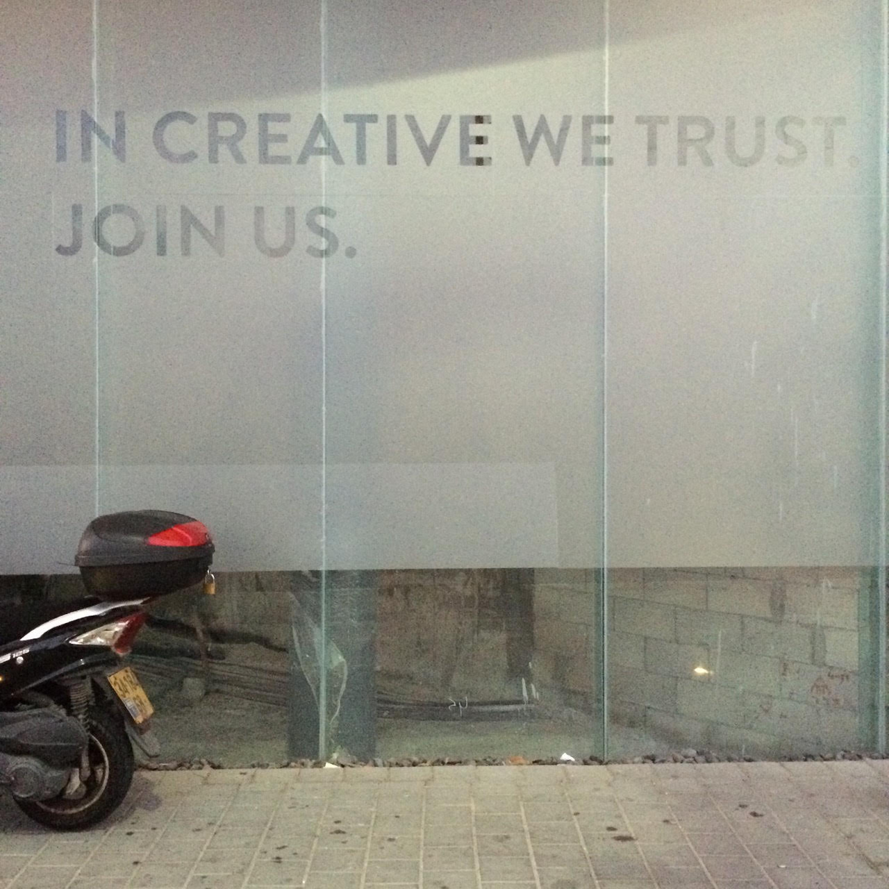 Creativity as a new religion? Spotted in Tel Aviv's fast gentrifying neighborhood of Florentin